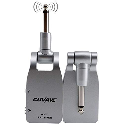 dezirZJjx Guitar Transmitter Receiver, 2019 CUVAVE WP-1 2.4G Wireless Built-in Rechargeable Lithium Transmitter and Receiver Guitar System Silver