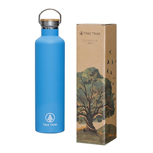 Tree Tribe Stainless Steel Blue Water Bottle 1 Liter / 34 oz - Indestructible, BPA Free, 100% Leak Proof, Eco Friendly, Double Wall Insulated Technology for Hot and Cold Drinks, Wide Mouth, Bamboo Cap