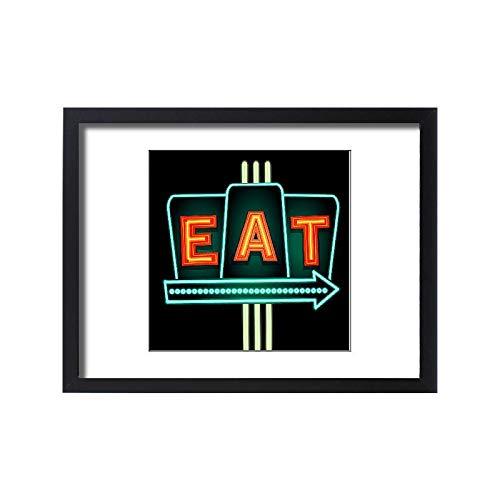 (Media Storehouse Framed 24x18 Print of Late Night Retro Diner Eat neon Sign (18114275))