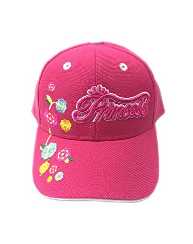 Aesthetinc Embroidered Princess Flowers Junior Kid's Baseball Cap Hat (Fuchsia)