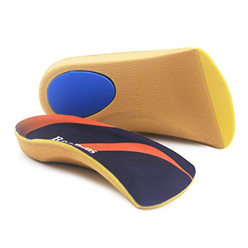 Orthotic Inserts 3/4 Length, High Arch Support Foot Insoles for Over-Pronation Plantar Fasciitis Flat Feet Heel Pain Relief Shoe Inserts for Running Sports Men Women