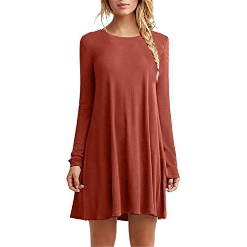 Fashion Autumn Winter Long Casual Loose Black Dress Pleated Mini Party Orange XL