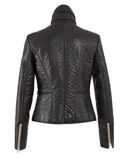 MAZE Jacke, Damen Bamendo Echtleder-Optik Textiljacke schwarz XS-XXL