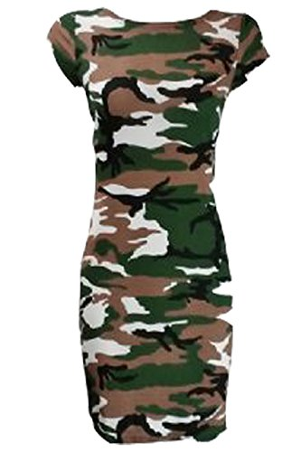 Courtes Moulante Ahr®® Manches Femme Camouflage Robe aZZqFRO