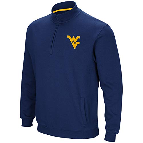 Colosseum NCAA Men's Tailgater Cotton-Poly Fleece 1/4 Zip Pullover-West Virginia Mountaineers-Blue-XL