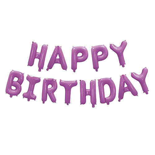 16 Inch Happy Birthday Foil Balloons Birthday Banner for Birthday Party Decoration (Purple)