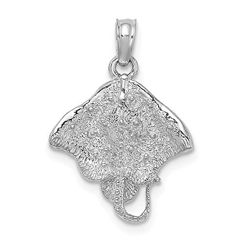 14k White Gold Stingray Pendant Charm Necklace Sea Life Fine Jewelry Gifts For Women For Her