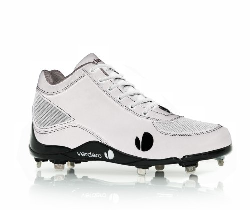 (Verdero Classic II Mid Metal Baseball Shoes, White/Silver, Size 13)