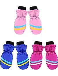 3 Pairs Kids Winter Snow Mittens Girls Ski Mittens Warm Waterproof Gloves for Children Aged 4-8 Years