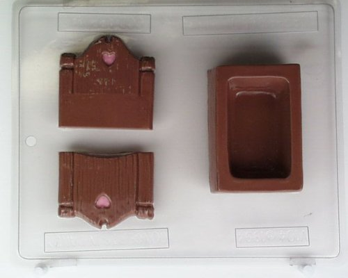 Pour box bed bottom & head & foot board V104 Valentine's Day chocolate candy mold (Box Chocolate Bottom Pour Mold)