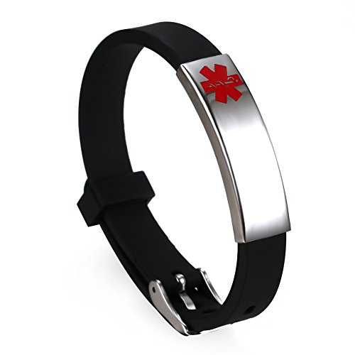 Free Engraving - Rubber Medical Alert ID Bracelets Wristband Black ()