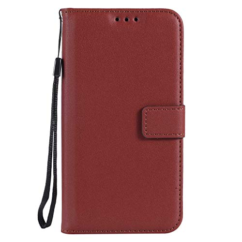 (UNEXTATI Galaxy S6 Case, Leather Magnetic Closure Flip Wallet Case with Card Slot and Wrist Strap, Slim Full Body Protective Case (Brown)