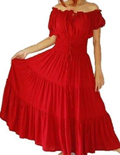 LOTUSTRADERS Maxi Peasant Dress Smocked Ethnic A754