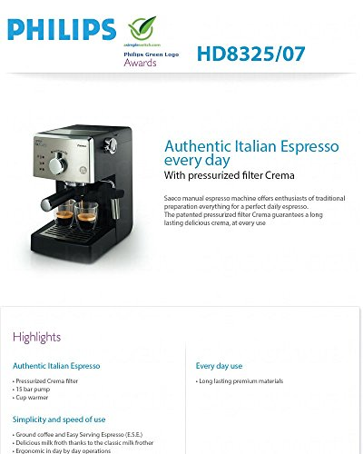 Philips Coffee Maker Hd8325 : Philips Saeco Hd8325 Handmade Coffee Espresso Machine Crema Filter 220v - Coffee Pigs