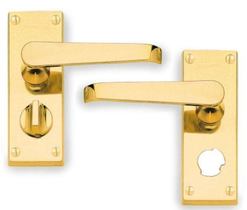 Pair Henderson Hardware Picasso Victorian Scroll Lever Bathroom Door Handles Polished Brass Finish J33685