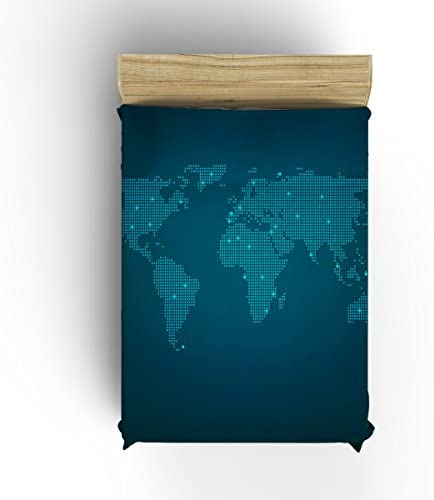 World Map Blanket Flannel Fleece Modern Blanket Thick Cozy Solid Blankets for Bed and Couch-Blue