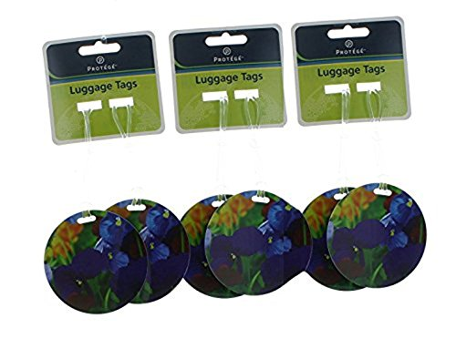 - Set of 6 Protege Round Style Luggage Tags Suitcase ID Blue Flower
