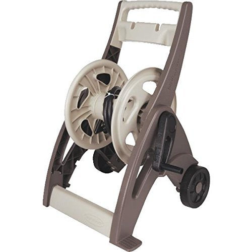 A mobile cart hose reel in Taupe and bronze.