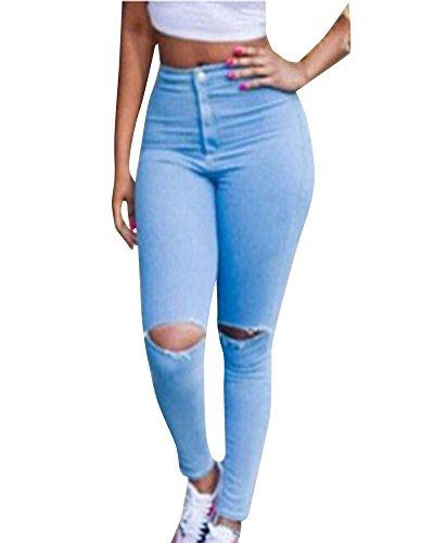 Stretch Vita Zhuikun Alta Skinny Strappato Jeans Donna Blu Donne Pantaloni A Ginocchio Legging HqHwzY