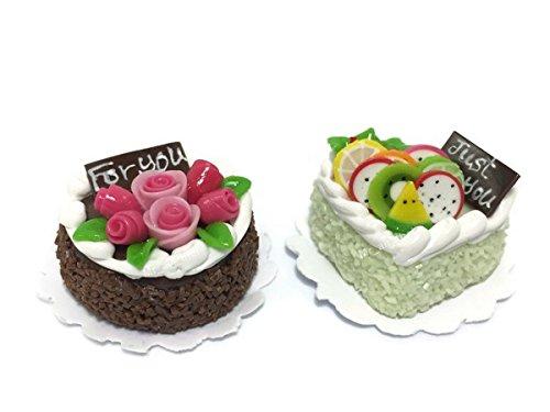 2pc Miniature Wedding Cake Bakery Dollhouse Cake Chocolate Birthday Cake Mini Fruit Food (Bespaq Dollhouse Miniatures)