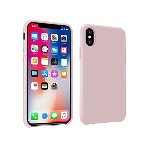 iPhone X Case,iPhone 10 Case, Rottay Liquid Silicone Rubber iPhone X/10 Shockproof Case with Soft Microfiber Cloth Cushion (Baby Pink Leather)