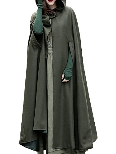Pxmoda Women's Maxi Hooded Trench Coat Cloak Maxi Cashmere Cape Hooded Cape (XL, Army Green) (Us Army Cape)