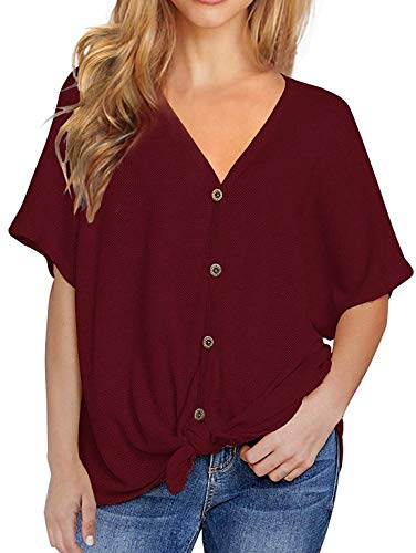 Lionstill Womens Loose Blouse Short Sleeve V Neck Button Down T Shirts Tie Front Knot Casual Tops Wine Red Small