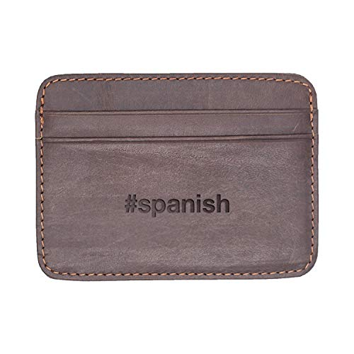 Spanish (Milk Chocolate) Engraved Synthetic Slim Wallet/Card Holder - Handcrafted By Mastercraftsmen - A Perfect Fit For The Minimalist Lifestyle - Sleek, Efficient