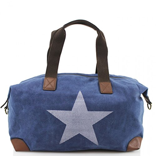 with Body Strap Cross amp; Handle Grab Navy Twin Canvas Bag Star Print New vFWZZa