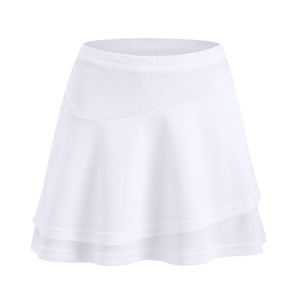LIJUMN Jupe De Sport Avec Poche Pantalon De Tennis En Badminton Anti-Nu Jupe Noir Blanc