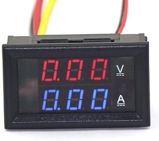 Aihasd 0,28 '100V DC Digitale voltmetro Amperometro Misura di corrente LED Doppio display Amperometri Volt Panel Meter Amp Con 50A Shunt (Rosso + blu; 50A)