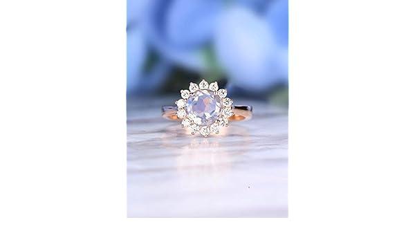 ea1ea427370 Amazon.com: 8mm Round Cut Moonstone Engagement Ring Solid 14k Rose ...