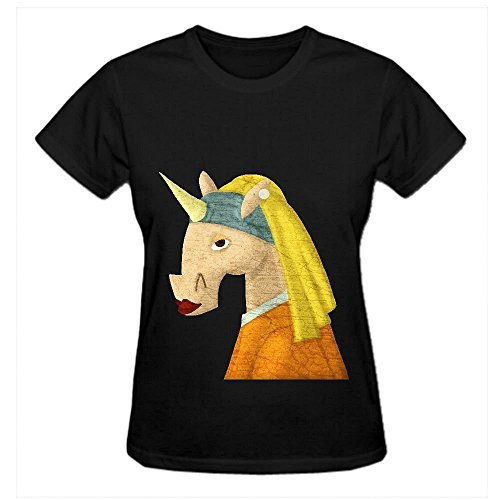 the-unicorn-with-the-pearl-earring-funny-t-shirts-for-women-crew-neck-black