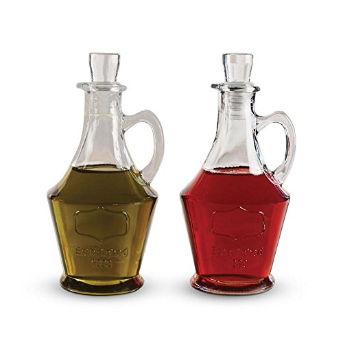 Tabletop Cruets Dispenser 9.5 oz. Oil and Vinegar Bottles Set of 2, with Handles and Airtight Glass - Craft Snowman Bottle