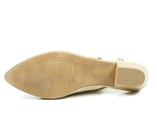 36 Sandales 848 Eu Bout Tamaris navy 29400 Beige Blau Femme Ouvert Leather ATg11z7qwx
