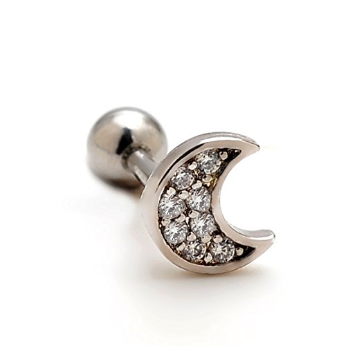 2 Pieces 16g Rhinestone Moon Upper Ear Cartilage Helix Studs Earrings Lobe Piercings 16 Gauges 1/4