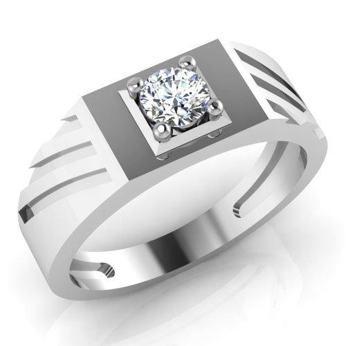 0,32 Ct redondo Natural Diamond anillos de boda para hombre 14 K oro blanco