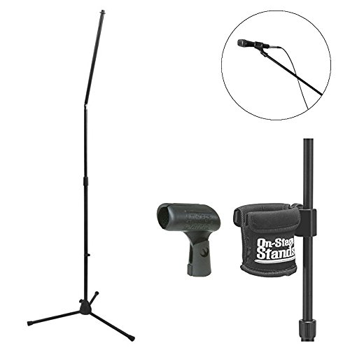 - On Stage MS8301 Upper Rocker-Lug Mic Stand with Tripod Base + On Stage Clamp-On Drink Holder + On Stage Unbreakable Dynamic Rubber Mic Clip + Deluxe Microphone Accessory Bundle