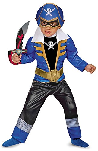 [Disguise Saban Super MegaForce Power Rangers Blue Ranger Toddler Muscle Costume, Large/4-6] (Power Ranger Samurai Costumes)