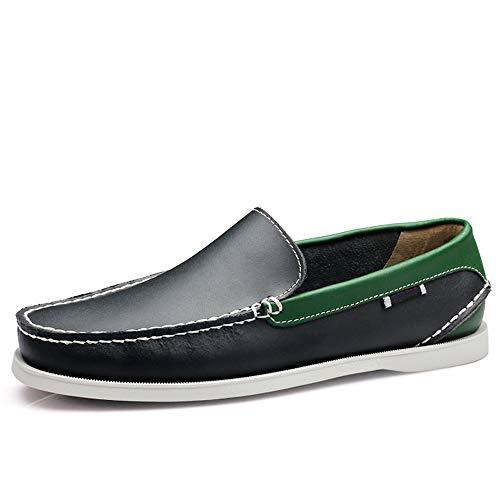 y Antideslizante Marrón Transpirables 44 cómodos EU Color black Cuero tamaño Fuxitoggo Mocasines para de Zapatos de Suave Green Suela Hombres Vaca de qa6Bzv