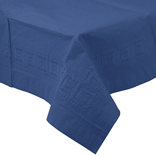 710242B 54'' x 108'' Navy Blue Tissue / Poly Table Cover - 24/Case By TableTop King by TableTop King