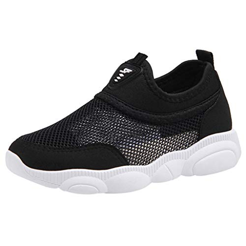 Respctful✿Baby Mesh Shoes Unisex Lightweight Breathable Sneakers Strap Athletic Running Shoes Causal Hook & Loop Black