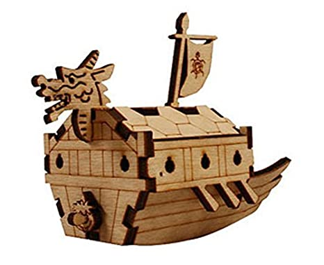 Amazon.com: Desktop Wooden Model Kit Kids Turtle Ship / YG821 by ...