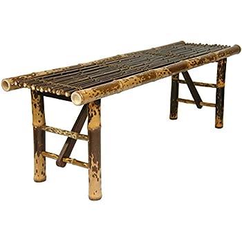 ORIENTAL FURNITURE Simple Rustic Unique Coffee Table, 4 Feet Japanese Style  Split Bamboo Pole