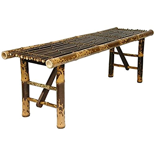 Oriental Furniture Simple Rustic Unique Coffee Table, 4 Feet Japanese Style  Split Bamboo Pole Folding Legs Bench, Dark