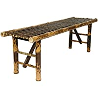 Oriental Furniture Simple Rustic Unique Coffee Table, 4-Feet Japanese Style Split Bamboo Pole Folding Legs Bench, Dark