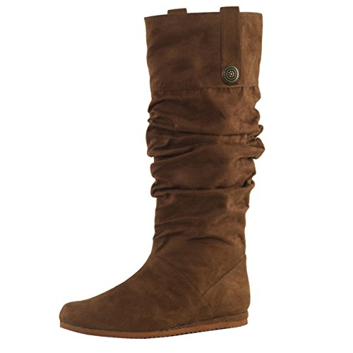 Mens Boots Sale Online (Mens Pull On Boots Renaissance Slouch Boots Mid Calf Brown Microfiber Buckle Size: Small)
