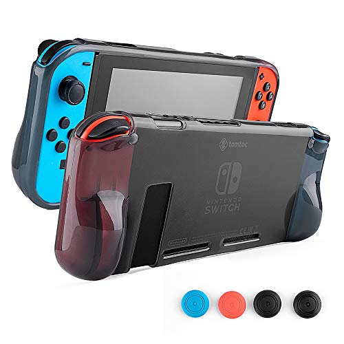 tomtoc Shockproof Anti-Scratch Protective Carrying Clear Hard Case Back Cover with Comfort Grip Design for Nintendo Switch