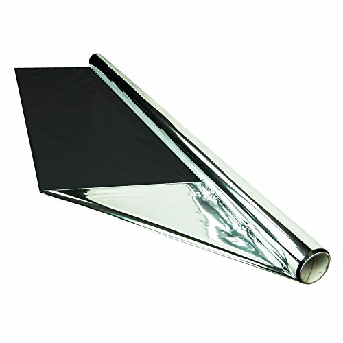 HTG Supply 50 Foot by 4 Foot Reflective Mylar On Black Poly Roll, 2-Mil