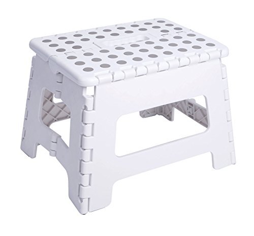 """Unity 9"""" Non-Slip Foldable Step Stool with Carrying Handle - Supports Up To 300LBS - Easy Open - Perfect for Kitchen, Bathroom, Bedroom & More - by Unity (White/Gray Pads)"""